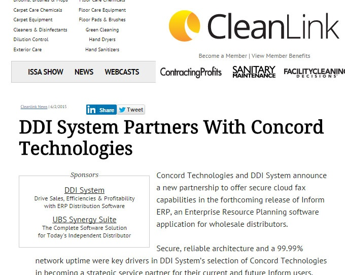 Clean Link Article - DDI System Partners with Concord Technologies