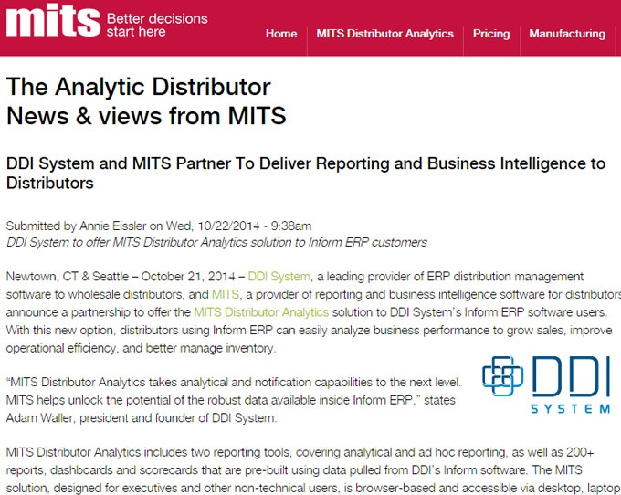 News and views from MITS