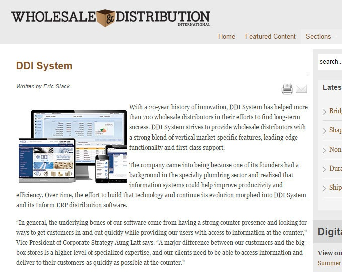 DDI System reviewed in Wholesale and distribution magazine