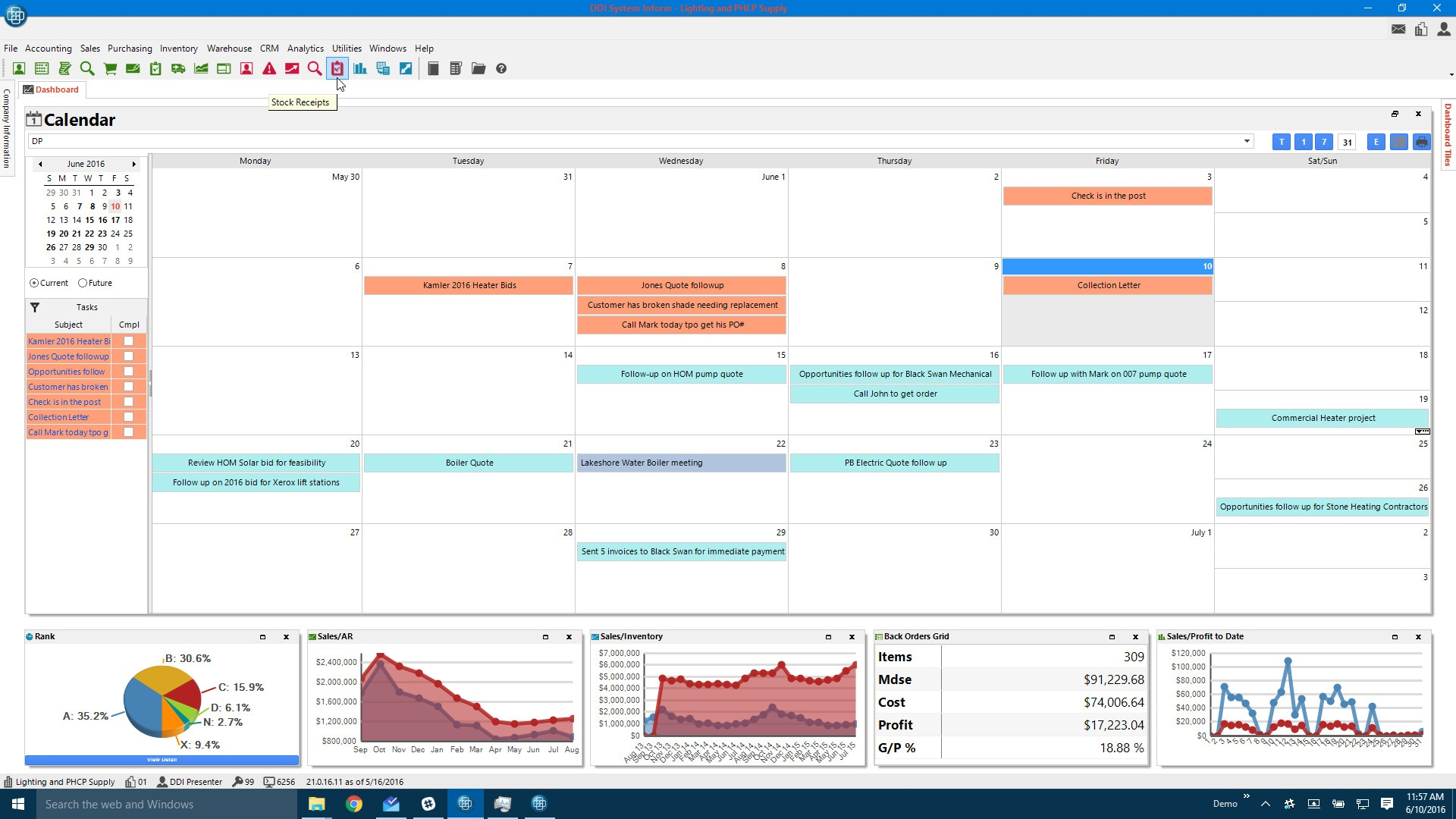 Inform CRM and Dashboard Home Screen