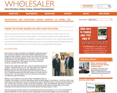 Bender Plumbing and DDI System in The Wholesaler Magazine